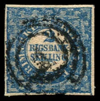 Lot 21539:1851-54 Thiele Printing SG #3 2rbs blue 4 even margins with large blue flaw (screwhead?) under LL of SKILLING, Cat £1,300. Lovely appearance and condition.