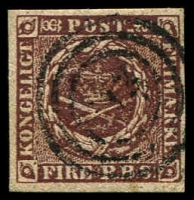 Lot 3504:1851-54 Thiele Printing SG #4 4rbs purple-brown 4 even margins, Cat £70. Lovely appearance and condition.
