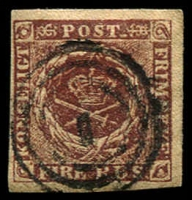 Lot 21542:1851-54 Thiele Printing SG #5 4rbs deep red-brown 4 even margins with POST retouched [II/5], Cat £500. Lovely appearance and condition.