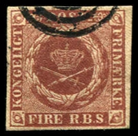 Lot 3505:1851-54 Thiele Printing SG #5 4rbs red-brown 4 even margins, Cat £60. Lovely appearance and condition.