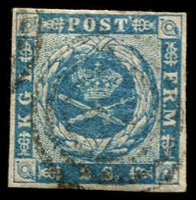 Lot 3506:1854-59 Spotted Spandrels SG #7 2s greenish blue 4-margins, Cat £85.