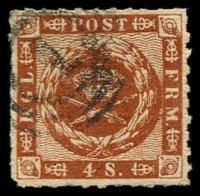 Lot 3511:1863 Wavy Lines Spandrels Wmk Large Crown Roulette 11 SG #20 4s brown, Cat £20.