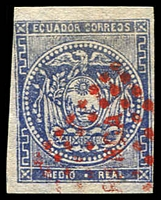 Lot 3524:1865-72 Arms Wove Paper SG #1 1c blue 4 margins, red cancel, Cat £13.