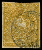 Lot 3525:1865-72 Arms Wove Paper SG #2b 1r bistre 4 close margins, thin, cds cancel, Cat £30.