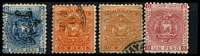 Lot 21269:1872 Arms Perf 11 SG #10-2 1d red Swan blue, 1r orange x2 shades & 1p rose MNG, Cat £21. (3)