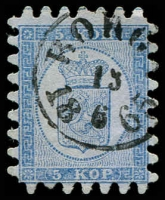 Lot 21401:1860 Serpentine Roulette (II) SG #15 5k pale blue/bluish one short tooth, Borgå cancel, Cat £450.