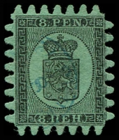 Lot 22162:1866-67 Wove Paper Serpentine Roulette SG #46 8p black/blue-green (iii) one short tooth, Cat £300.