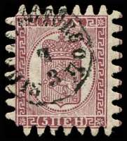 Lot 21403:1866 Thin Vertical Laid Paper Serpentine Roulette SG #29 5p purple-brown/grey (iii) with all teeth, Cat £300.