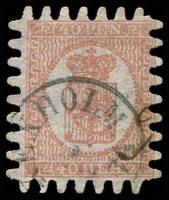 Lot 3563:1866 Wove Paper Serpentine Roulette SG #43 40p rose/pale rose (iii) with all teeth, Hexholm cancel, Cat £350.