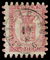 Lot 22160:1866 Wove Paper Serpentine Roulette SG #41 40p rose/pale rose (ii) with all teeth, Uleåborg cancel, Cat £200.