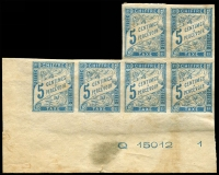 Lot 3577:1893 New Colours SG #D73 5c light blue BLC irregular block of 6 with marginal marking 'Q 15012 1', lightly toned all over.