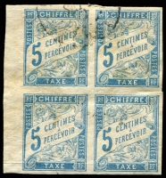 Lot 21398:1893 New Colours SG #D73, 5c light blue, left marginal block of 4, light toning.