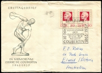 Lot 3634:1963 Coubertin Mi #939 20pf pair on illustrated FDC, cancelled with Berlin W8 'Coubertin' cancel of 15.1.63, FDI was 2/1/63, some top edge wear, slightly reduced at right.