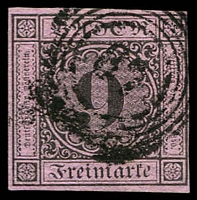 Lot 3757:1851-52 Numerals Mi #4a 9kr black/rose 4close/touching margins, thin paper, cancelled with 4-ring '87' of Mannheim, Cat €200.