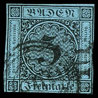 Lot 3581:1858 Numerals New Colours Mi #8 3kr black/blue 4 close/touching margins, Cat €40.