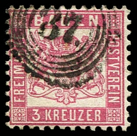 Lot 3583:1862-63 Arms Void Background Perf 10 Mi #18 3kr rose, cancelled with '37' of Endingen