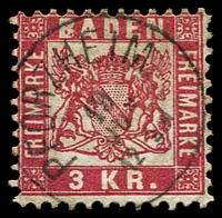 Lot 3760:1868 Arms Abbreviated Currency Perf 10 Mi #24 3kr rose, fine 'PFORZHEIM/19/JUN/12-2N' cds, Cat €8.