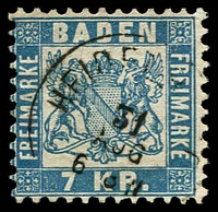 Lot 3585:1868 Arms Abbreviated Currency Perf 10 Mi #25a 7kr blue, Cat €45.