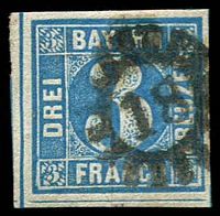 Lot 19957:1849 Numeral in Cut Circle Mi #2.II.3 3k blue Plate 3, 4-margins, cogwheel '18' of Augsburg.