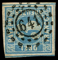 Lot 19958:1849 Numeral in Cut Circle Mi #2.II.4 3k blue Plate 4, 4-margins, open 3-ring '641' of Kohlburg.