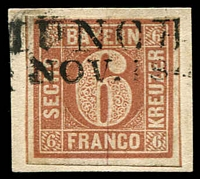 Lot 3761:1850 Numeral in Uncut Circle Mi #4 6kr brown 4-margins on piece,  Pröschold expertising handstamp