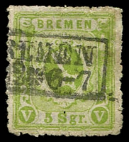 Lot 3764:1866-67 Arms Perf 13 Mi #15a 5sgr yellow-green, Cat €250.