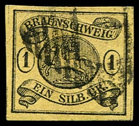 Lot 3591:1853-56 Arms Wmk Posthorn Imperf 1sgr black/yellow cancelled forgery of Mi #6.