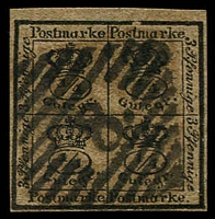Lot 3765:1857 Quarter Stamp Wmk Posthorn Imperf Mi #9a 4/4ggr black/brown 4 margins, Cat €120