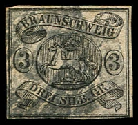 Lot 3592:1861-65 Arms Wmk Posthorn Imperf Mi #8b 3sgr black/pale rose 4 margins, Cat €220.