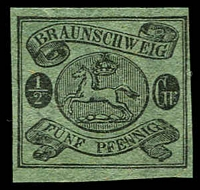 Lot 3593:1861-65 Arms Wmk Posthorn Imperf Mi #10A ½sgr black/green 4 margins, Cat €25 (as MNG).