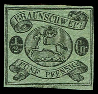 Lot 3766:1861-65 Arms Wmk Posthorn Imperf Mi #10A ½sgr black/green 4 margins, Cat €25 (as MNG).