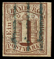 Lot 3768:1859 Arms Imperf Mi #2 1s brown, 4 margins (one close), Cat €120, expertising handstamp.
