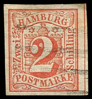 Lot 3594:1859 Arms Imperf Mi #3 2s red, 4 margins, Cat €130, expertising handstamp.