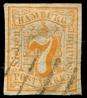 Lot 3595:1859 Arms Imperf Mi #6 7s orange, 4 margins, Cat €70.