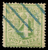 Lot 3596:1864-67 Arms Perf 13½ Mi #16b 4s dull green, Cat €150
