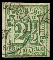 Lot 22476:1864 Arms New Values Imperf 2½s blue-green, 1867 Hamburg cds, faked imperf of MI #9, perfs trimmed off.