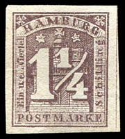 Lot 22475 [2 of 2]:1864 Arms New Values Imperf 1¼s dull lilac x2, 4 margins, no wmk, reprints or forgeries of Mi #8 (2)