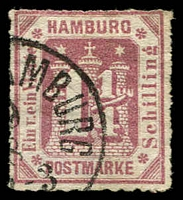 Lot 22477:1866 Arms New Design No Wmk Roulette 10 Mi #20b,1¼s mauve, Cat €90