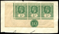Lot 3646:1922-27 KGV Wmk Mult Script CA SG #27 ½d green corner strip of 3 with Control No 10 tied to piece by light Ocean Island cds's.