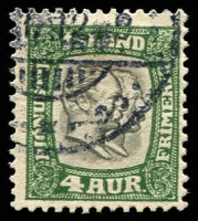 Lot 21479:1907 Christian IX & Frederick VIII SG #O100, 4a green & dark grey.