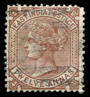 Lot 21487:1876 New Values Wmk 'Elephant' SG #82, 12a Venetian red, Cat £42, rounded corner.