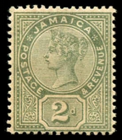 Lot 3849:1889-91 QV Tablets SG #28a 2d deep green, brown gum, Cat £24.