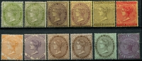 Lot 22171:1905-11 QV Types SG #46-56 range mint selection with 3d olive-green, 3d sage-green, 3d purple/yellow, 3d pale purple/yellow, 4d black/yellow, 4d red/yellow, 6d dull orange, 6d purple, 1/- brown, 1/- deep brown, 1/- black/green & 2/- purple/blue, Cat £170. (12)
