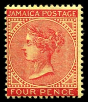 Lot 22172 [2 of 2]:1905-11 QV Types SG #50 4d red/yellow x2, one with vertical flaw through circle in front of face. (2)