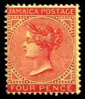 Lot 22172 [1 of 2]:1905-11 QV Types SG #50 4d red/yellow x2, one with vertical flaw through circle in front of face. (2)