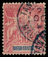 Lot 3894 [1 of 2]:1892 'DIEGO-SUAREZ' SG #51,53,56,58,59,61 1c, 4c, 15c, 25c plus 30c & 50c (both have faults), Cat £38. (6)
