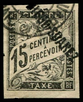 Lot 22220:1892 Overprint on French Colonies SG #D33, 15c black, Cat £32, couple of small thins.