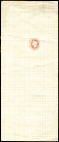 Lot 5252:1869 No Wmk HG #E2, 1d red on vertical laid paper stamp to right of middle, unused.