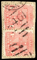 Lot 707:840: '840' on 1d Arms pair.  Allocated to Wyalong-PO 1/8/1876; renamed Barmedman PO 22/5/1882.
