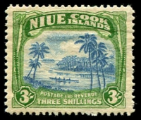 Lot 4116:1938 Wmk NZ/Star SG #77 3/- blue & yellowish green, Cat £35.